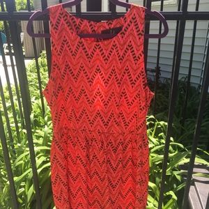 Patterned Coral Dress
